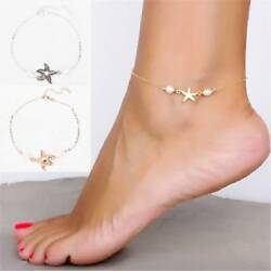 Women Gold Silver Starfish Pendant Ankle Chain Anklet Foot Bracelet Beach Anklet