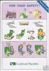 Safety Card Cathay Pacific B747 400 S1839 C $21.95
