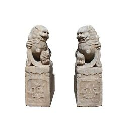 Chinese Pair Distressed Brown White Stone Fengshui Foo Dog Statues cs4025