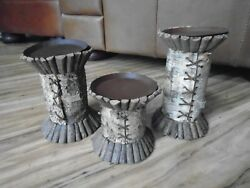 Set 3 Risers CANDLE HOLDERS LODGE LOG CABIN RUSTIC TABLE CENTERPIECE HOME DECOR