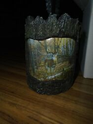 Wild Wings CANDLE Votive HOLDER LODGE LOG CABIN RUSTIC CENTERPIECE HOME DECOR