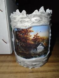 Wild Wings Terry Redlin CANDLE Votive HOLDER LODGE LOG CABIN RUSTIC HOME DECOR