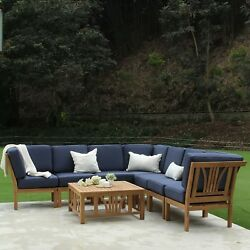 New Wood Outdoor Seating Patio Furniture Set 8 Piece Teak Chairs Table Cushions