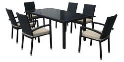CC Outdoor Living 7-Piece Black Wicker Furniture Patio Dining Set Beige Cushions