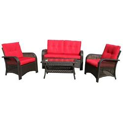 Northlight 4-Piece Brown Resin Wicker Outdoor Patio Furniture Set - Red Cushions