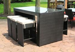 CC Outdoor Living 7-Piece Black Wicker Outdoor Furniture Bar Set Beige Cushions