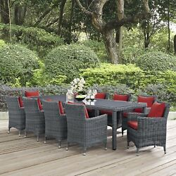 Modway Summon Wicker Rattan Outdoor Patio 11-Piece Dining Set in Canvas Red