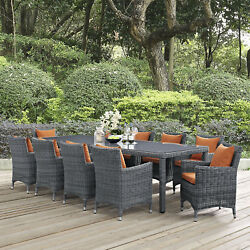 Modway Summon Wicker Rattan Outdoor Patio 11-Piece Dining Set in Canvas Tuscan