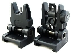 UTG Flip-up BUIS Sight Set Spring PopUp Folding Iron Sights Picatinny Rail Mount $58.99