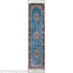 Yilong 2.5'x9.84' Blue Hand Knotted Silk Rug Runners Hallway Carpet Outdoor 0846