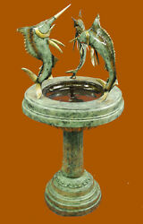 Three Sword Fish on Tray Water Fountain Bronze Sculpture Statue Figurine Figure