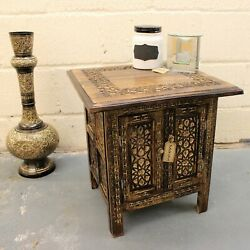Mehanadi Square Side End Hand Carved Brown Wooden Table Storage Compartment $330.37