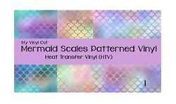 My Vinyl Cut Mermaid Scales Printed Adhesive Vinyl or HTV T shirt 12 x 12