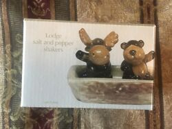 Sonoma Salt and Pepper Shakers Lodge Cabin Bear and Moose in Hollow Log Decor