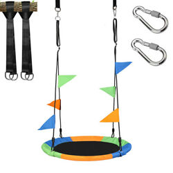 40quot; Flying Saucer Tree Swing Children#x27;s Multi Color Rainbow Swing Easy Install $39.99