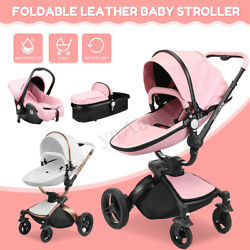 3-in-1 Baby Stroller Leather Newborn Kids Infant Buggy Travel Pram Pushchair Car
