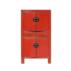 Chinese Distressed Rustic Orange Red Two Shelves Storage Cabinet cs4160