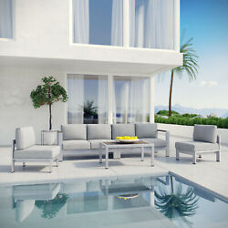 5PC Aluminum Outdoor Patio Furniture Cushioned Sectional Sofa Set in Silver Gray