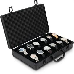 Watch Case Aluminum for 12 Watches Collectors Briefcase Black with Handle $79.95