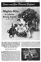 30 CC Elmer Wall 4 cylinder OHV Mighty Mite gas engine instructions on CD ROM $9.95