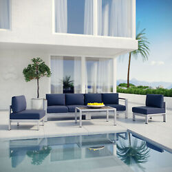 5PC Aluminum Outdoor Patio Furniture Cushioned Sectional Sofa Set in Silver Navy