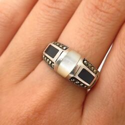 Signed 925 Sterling Silver Mother-Of-Pearl & Marcasite & Onyx Ring Size 7 34
