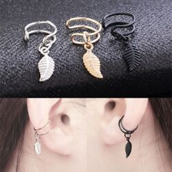 2Pcs Non Piercing Clip On Fake Mens Ear Stud Cuff Hoop Earrings Stainless Steel $0.99