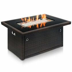 Outland Living Series 401 Brown 44-Inch Outdoor Propane Gas Fire Pit Table Blac