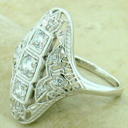 ART DECO 925 STERLING SILVER ANTIQUE STYLE CUBIC ZIRCONIA RING SIZE 6 #1148 $30.55