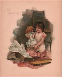 NEW LARGE DOLL GIFT antique fine chromolithograph original 1882
