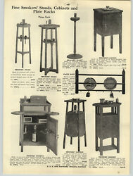 1916 PAPER AD Mission Style Oak Wood Smokers' Cabinet Stand Ash Tray Medicine