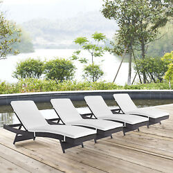 Outdoor Patio Wicker Rattan Chaise Lounge Chair in Espresso White - Set of 4