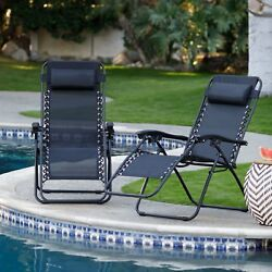 Zero Gravity Lounge Chairs Heavy Duty Steel Set of 2 UV Protected Vinyl Slings