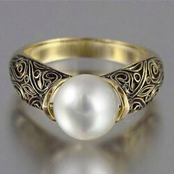 Fashion Women  Wedding Ring 18k Yellow Gold Plated White Pearl Ring Size 6-10