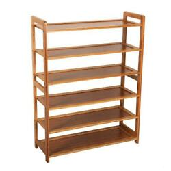 6 TIER NATURAL BAMBOO WOODEN SHOE RACK ORGANISER STAND STORAGE SHELF UNIT
