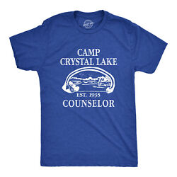 Mens Camp Crystal Lake T shirt Funny Graphic Camping Vintage Adult Novelty Tees $11.99