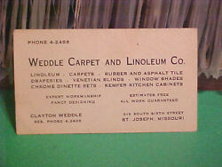 VINTAGE CALLINGBUSINESS CARD WEDDLE CARPET & LINOLEUM CO. ST. JOSEPH MISSOURI
