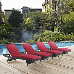 Outdoor Patio Wicker Rattan Chaise Lounge Chair in Espresso Red - Set of 4