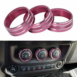 3X Pink Rose Air Condition Button Cover Trim for Jeep Wrangler Compass Patriot