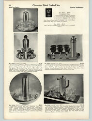 1939 PAPER AD 6 PG Chrome Cocktail Shakers Art Deco Mid Century Modern Sets $37.98