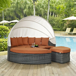 Outdoor Patio Wicker Rattan Canopy Daybed & Sunbrella® Canvas Tuscan Cushion