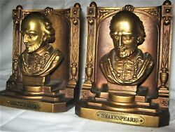 ANTIQUE BRADLEY HUBBARD USA CAST IRON BRONZE SHAKESPEARE BUST ART BOOK BOOKENDS $895.00