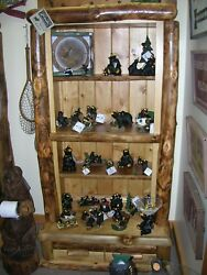Rustic Aspen Log Bookcase 2 drawer base- Made in the USA Cabin Lodge Country New