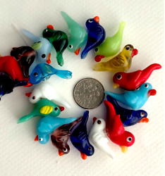 FREE SHIP 12 Song Birds Lampwork Glass Charms Beads Multi 28mm*