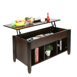 Lift Top Coffee Table w Hidden Compartment and Storage Shelves Brown Furniture $118.99