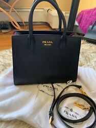 Prada Bibliotheque Black Red Small with Dustbag and Strap $1750.00