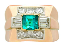 1940s 1.02 ct Emerald 1.05 ct Diamond 18Carat Yellow Gold Dress Ring Size R