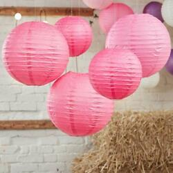 12pk PINK Chinese Paper 12#x27; Lantern Wedding Festival Party Hanging Decorations $9.99
