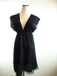 ALEXX JAE MILK BLACK SILK CHIFFON TUNIC TOP DRESS DEEP V NECK S Beautiful!