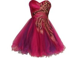 Women Formal Short Tulle Dress Prom Evening Party Cocktail Red embroidered $22.00
